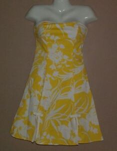 Juniors-BCX-Yellow-amp-White-Floral-Print-Strapless-Rockabilly-Dress-Size-3-Summer