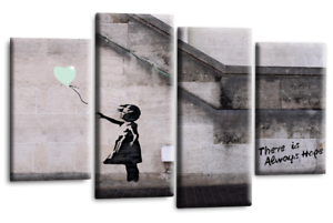 BANKSY-Art-Picture-Duck-Egg-Balloon-Girl-Hope-Love-Abstract-Canvas-Wall-Print