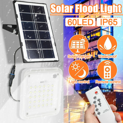 450W 60LED Solar Flood Light Garden Wall Lamp Remote Control Outdoor Security