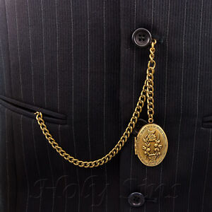 Brand-New-Bronze-Single-Albert-Pocket-Watch-Fob-Chain-With-Locket