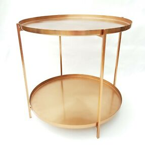 Details About Brushed Copper Metal Sidetray Table Brand New Coffeeside Or Bedside Table