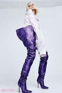 ddd2618112d Chic Womens Pointed Toe Satin Over the Knee Boots Waist High Long ...