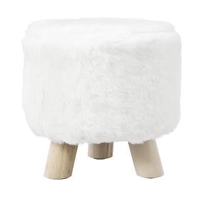 [en.casa]® Siège tabouret blanc fausse fourrure rembourré tabouret rembourrage