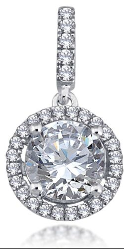 Brilliant Pendant Sterling Silver 925 With Pave Setting Cubic Zirconia Stones