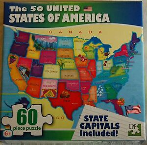 50 Usa United States Of America Map Puzzle W State Capitals 60 Pc