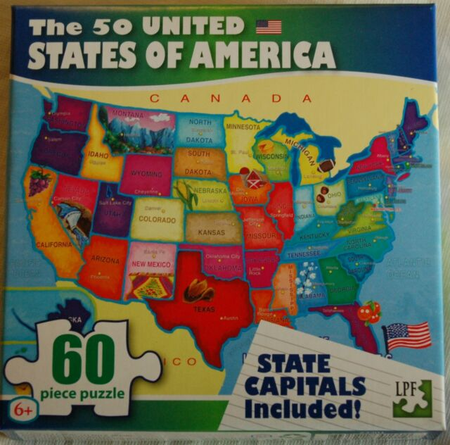 50 USA United States of America Map Puzzle W/ State Capitals 60 PC Learning  Kids