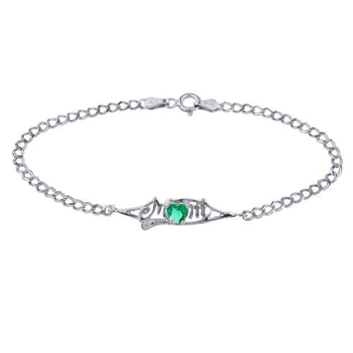 Emerald /& Diamond Heart Mom Bracelet .925 Sterling Silver