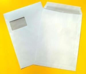 1-400-Versandtaschen-C4-weiss-Umschlag-Umschlaege-fuer-A4-haftklebend-mit-Fenster