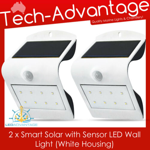 2 X WHITE SMART SOLAR /& SENSOR LED WALL MOUNT SECURITY LIGHT HOME//BOAT//CARAVAN