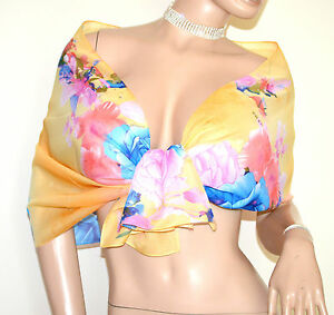 STOLA-GIALLA-donna-foulard-velato-coprispalle-trasparente-fantasia-floreale-A56