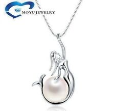 "925 Sterling Silver Freshwater Pearl Mermaid Pendant 18"" Chain Necklace with Box"