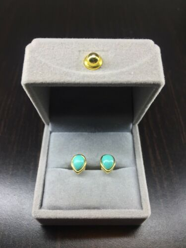 Solid 925 Sterling Silver 18K Gold Natural Pear Cut Turquoise Stud Earrings