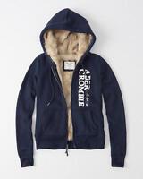 Abercrombie & Fitch Faux Fur Full Zip Logo Hoodie Sweatshirt Jacket L Navy