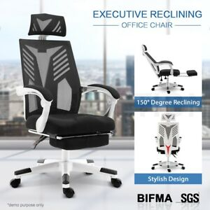 Executive High Back Office Computer Mesh Work Chair with Retractable Footrest