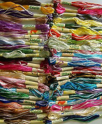 New x 75 Variegated Oasis Art Silk//Rayon Stranded Hand Embroidery Skeins pack uk