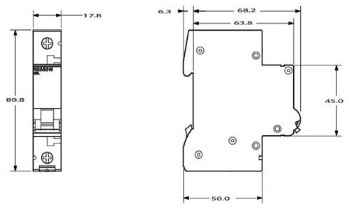 Tubería disyuntor disyuntor mcb 10a tipo C 1 polos 6ka 5 piezas