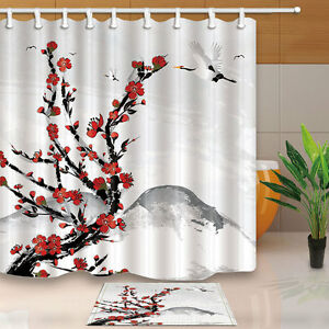Image Is Loading Japanese Style Cherry Flowers And Crane Birds Print