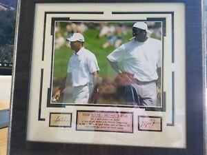 3072580ec5337 Details about Autographed glass-framed photo of Michael Jordan & Tiger Woods