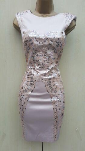 Størrelse Natural Pencil Mini Satin Metallic Millen 12 Uk Sequin Karen Dress HwnqaBSWH
