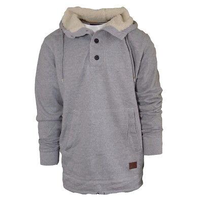 NEW BILLABONG MENS PULLOVER SHERPA FLEECE HOODIE  (Retail $70)- Grey