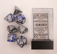 Chessex 7 Dice Set Gemini Blue-Steel w/ White CHX 26423 for D&D & D20