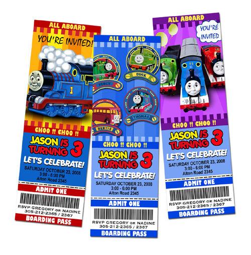 Thomas The Tank Train Birthday Party Invitation Ticket 1st