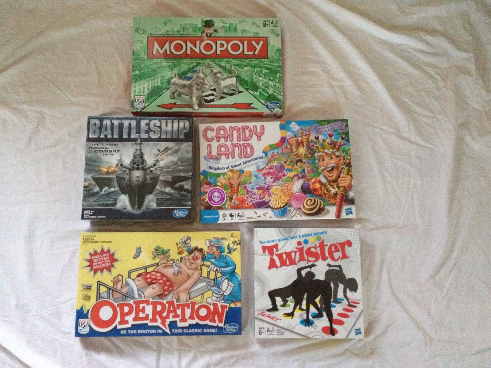 Five Classic Hasbro Games  Battleship, Candy Land, Operation, Monopoly & Twister