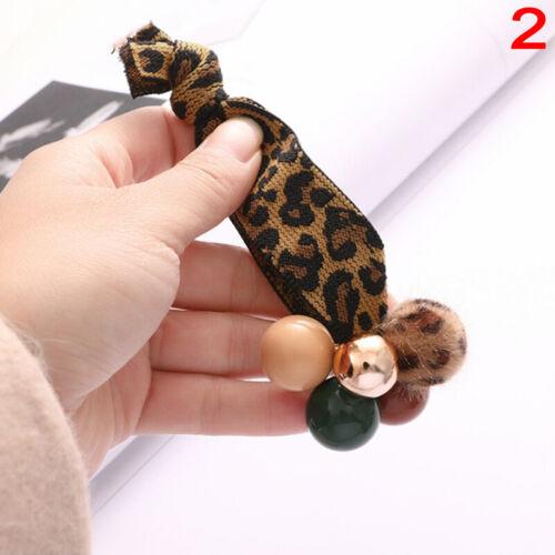 Ins Hot Fashion Frauen Leopard Perle Elastische Haarbänder Haargummi HaarsCRH