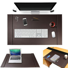 Sum Large Vegan Leather Office Desk Pad Mouse Keyboard Laptop Mat With Side Rails