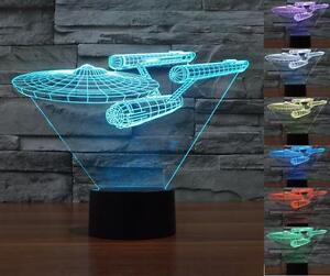 New Star Trek USS Enterprise 3D LED Night Light 7 Color Starry Touch Switch