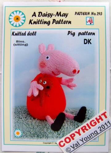 Cochon Knitting Pattern par DAISY May.8 pouces de hauteur assis Nº 293