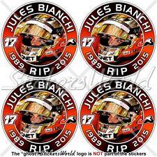 JULES BIANCHI RIP Formel 1 Automobilrennfahrer 50mm Vinyl Sticker, Aufkleber x4