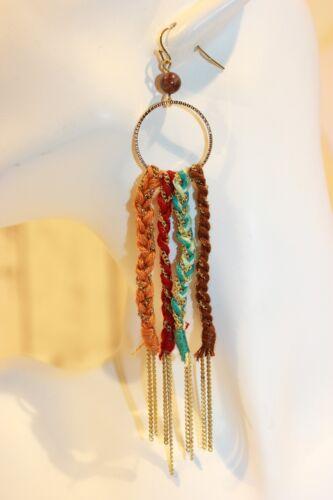 Ohrhänger NEU Ohrringe gold braun geflochten rot türkis lang groß Hippie Retro