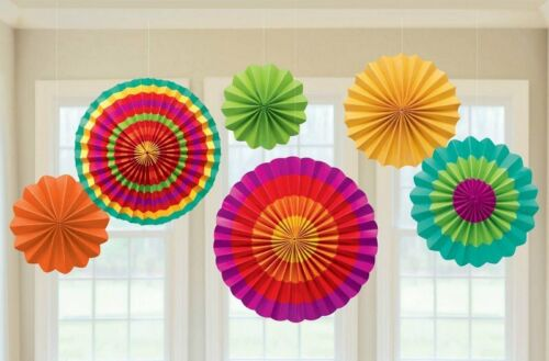 PACK 6 COLOURFUL FIESTA PAPER FANS PARTY HANGING DECORATIONS MEXICAN BIRTHDAY