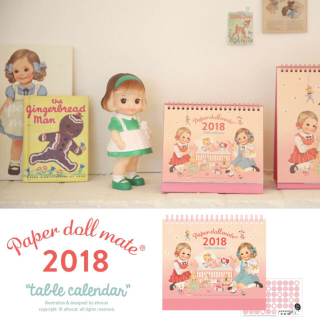 Afrocat Paper Doll Mate Table Calendar 2018 Schedule Memo Decoration New Year