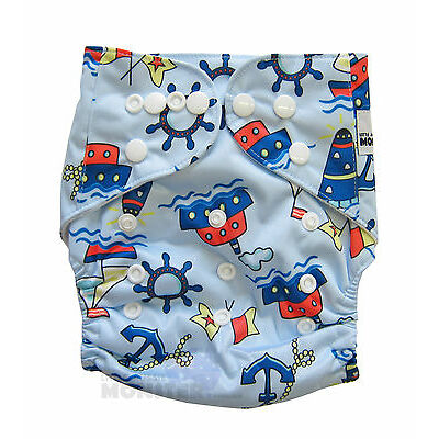 MODERN CLOTH NAPPIES REUSABLE ADJUSTABLE DIAPERS, Blue Boats