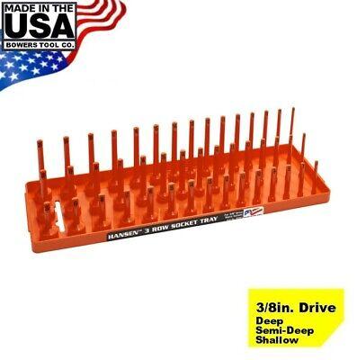"Hansen Global 3//8/"" Drive Socket Tray Holder Metric MM Standard Deep USA Orange"