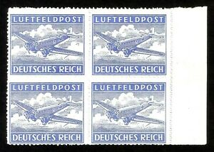 DR-Nazi-3rd-Reich-Rare-WW2-Stamp-Air-Mail-Official-Feldpost-War-Aircraft-Swastka