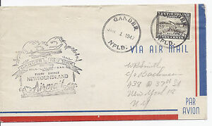 January-1-1947-Newfoundland-FFC-First-Direct-Flight-Cover-Gander-to-New-York