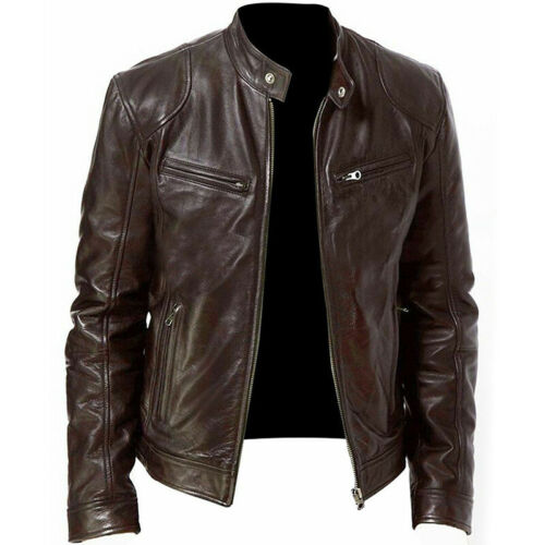 NEW Mens PU Leather Washed Jackets Zipper Slim Fit Biker Motorcycle Jacket Coat