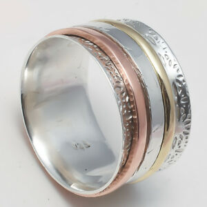 Solid-925-Sterling-Silver-Spinner-Ring-Meditation-Statement-Ring-Size-ss5495