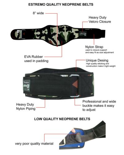 """Bundle Great Deal Weight Lifting Belt 8/"""" Neoprene with Wrist Strap"""
