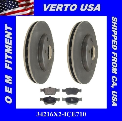 Front Set of 2 Premium Rotors /& Metallic Pads for a Mercedes 34216X2-ICE710