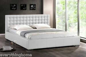 Modern-White-Faux-Leather-Queen-King-Platform-Bed-Frame-Tufted-Padded-Headboard
