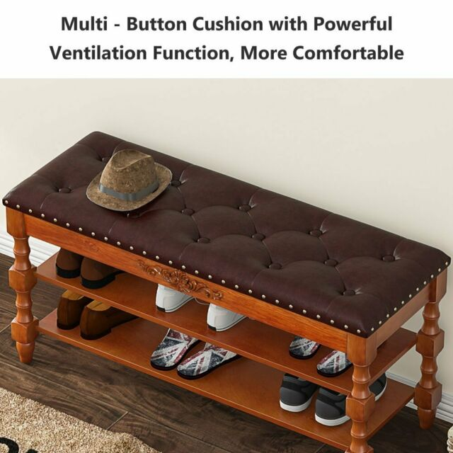 2Tier Wood Shoe Bench with Lift Top