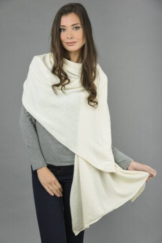 Cream White Cashmere Wrap Travelwrap Scarf Shawl 2ply Knitted MADE IN ITALY