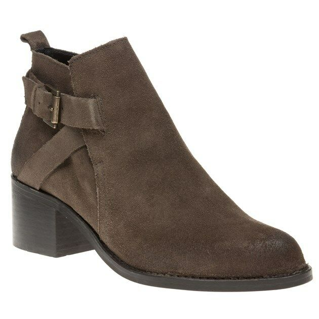 New Womens SOLE Grey Franci Suede Boots Ankle Buckle