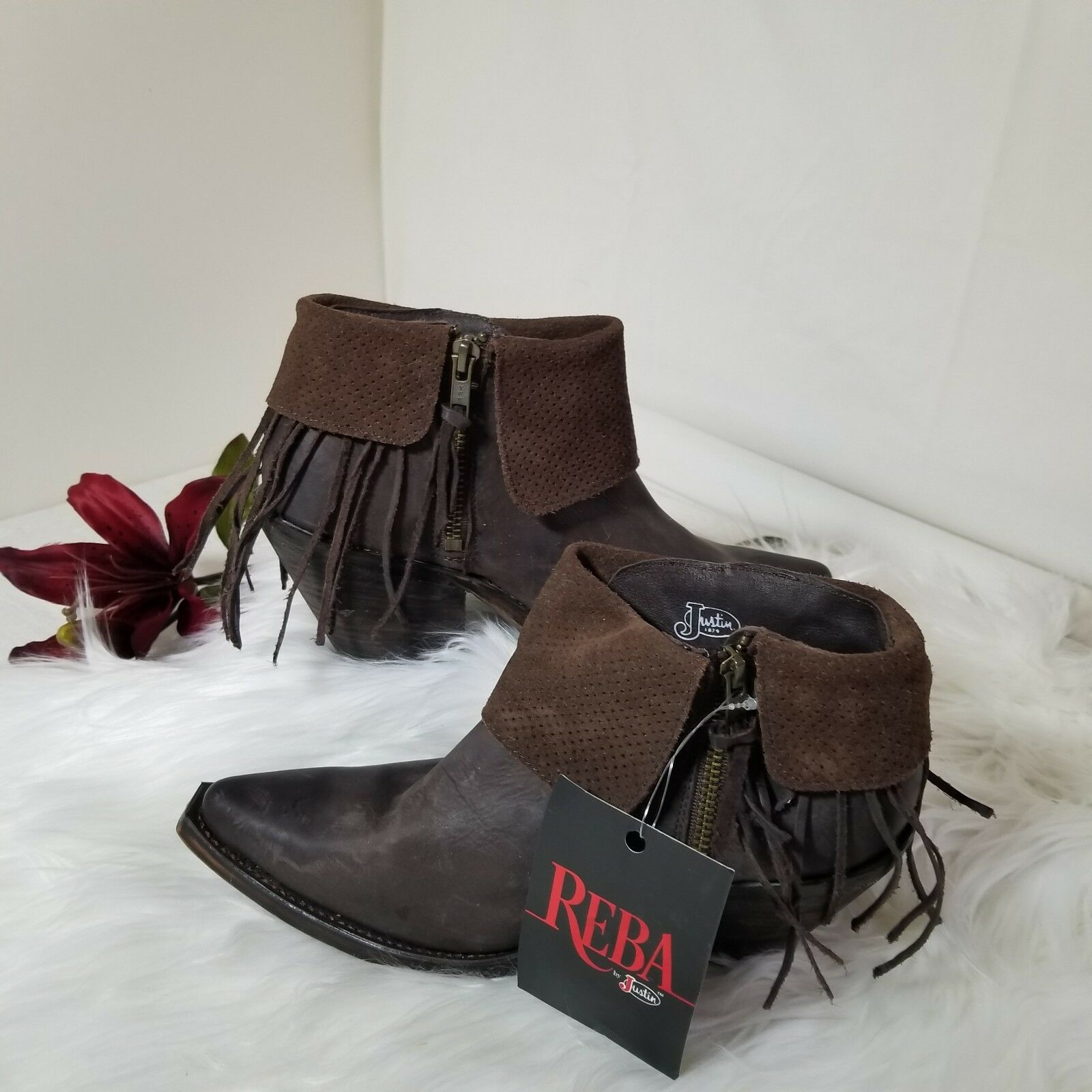 NWT Reba Justins Brown Leather Ankle pirate Boots booties shoes Womens US 7 B