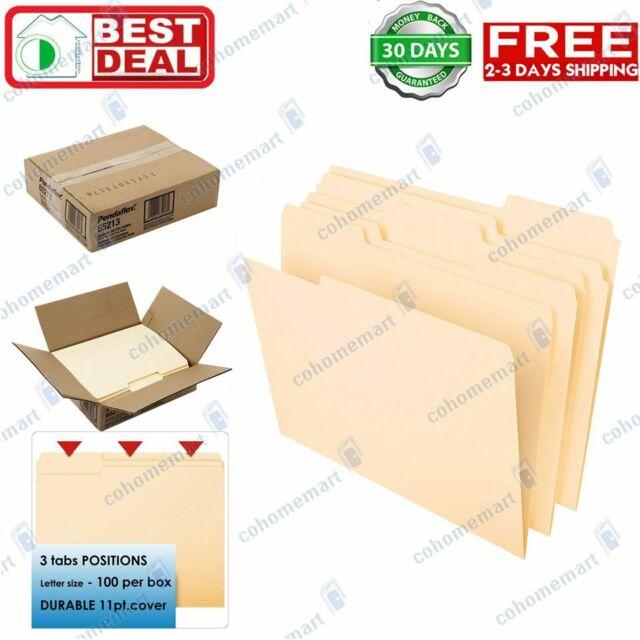 Pendaflex Essentials File Folders Straight Cut Top Tab Letter Manila 100//Box 752