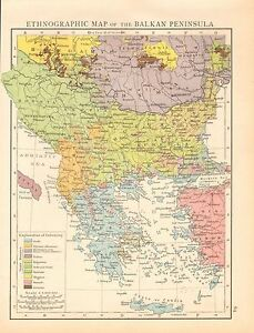 1893 ANTIQUE MAP - ETHNOGRAPHIC MAP OF THE BALKAN PENINSULA | eBay